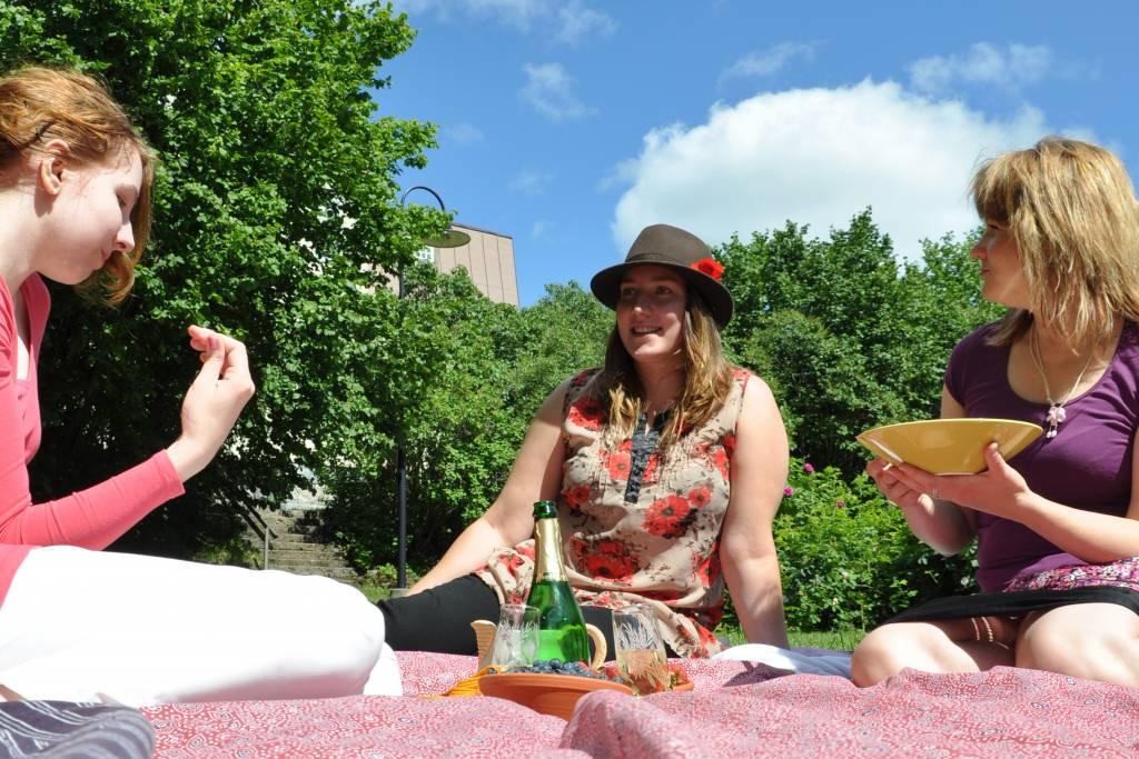 naiset piknikillä Voipaalan puutarhassa
