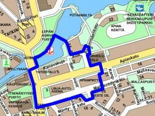 Eteläinen keskusta, sijaintikartta