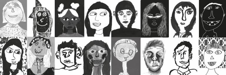 lasten piirtämiä kasvokuvia