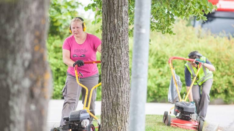Nainen ja mies leikkaavat nurmikkoa puistossa