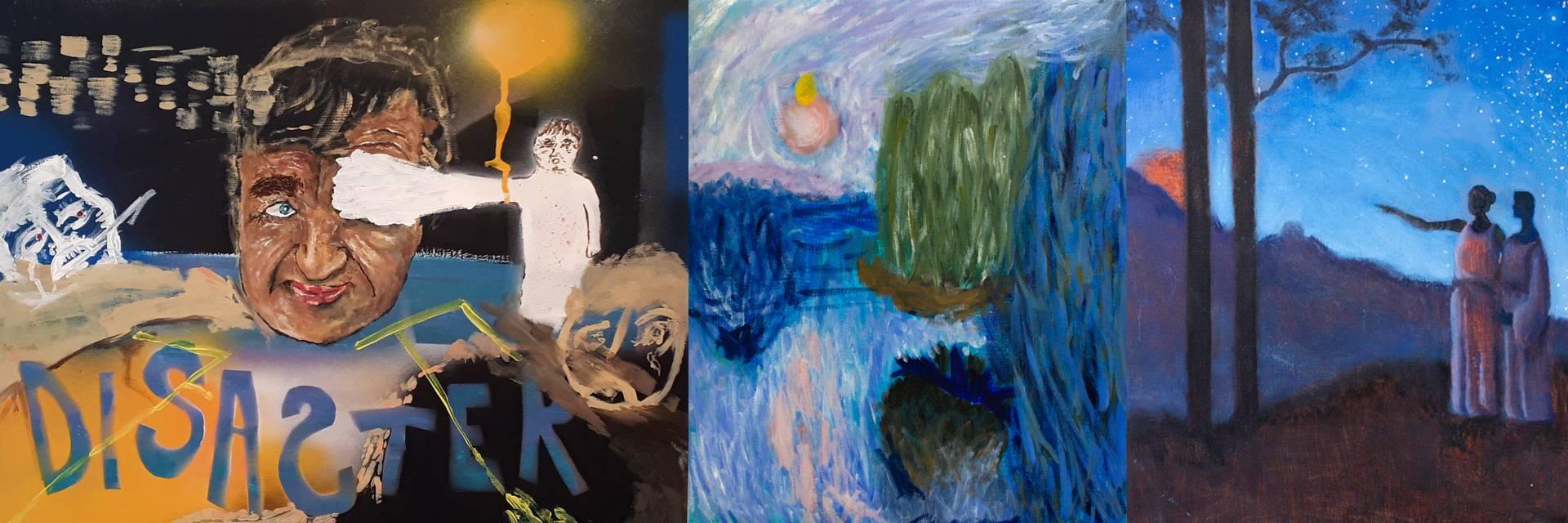 värikkäitä oppilaiden maalauksia