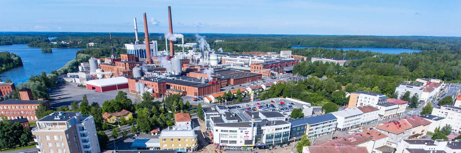 view from above of the city centre of Valkeakoski