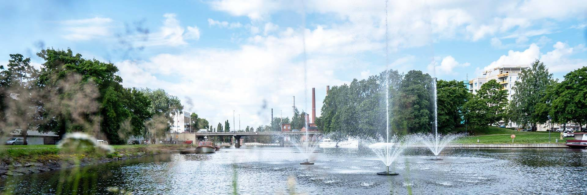 Water fountains at the cemter of Valkeakoski city