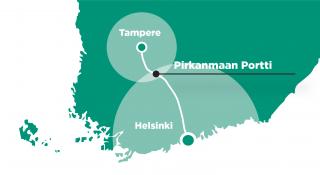 Pirkanmaan portti sijaitsee Tampereen ja Helsingin välissä