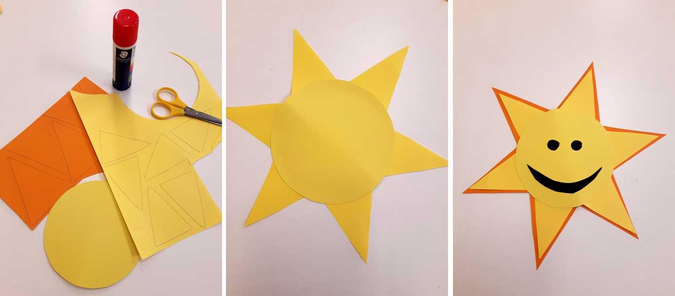 Auringon askartelua paperista leikkaamalla.