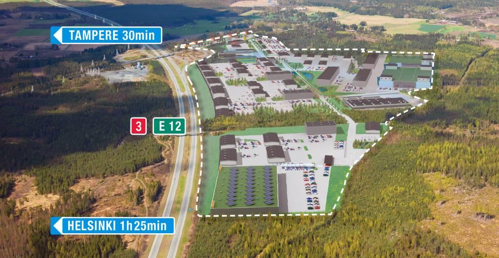 Pirkanmaan portti yritysalue sijaitsee E12 moottoritien varressa, 30 minuutia Tampereelta ja 85 minuuttia Helsingistä