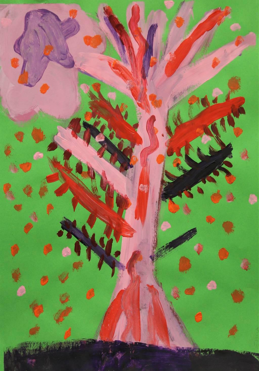 Kuvataide- ja käsityökoulu Emilin oppilaan puuaiheinen maalaus