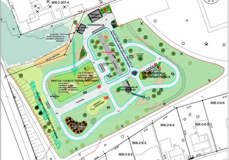 Liikennepuiston suunnitelmaehdotus kartalla