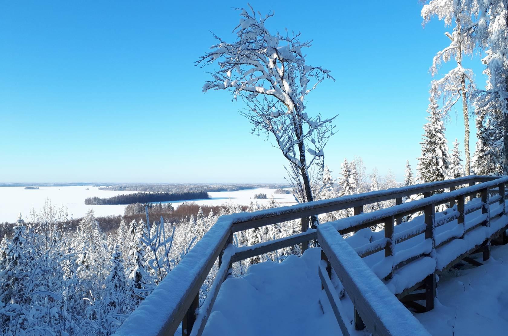 Talvinen maisema Vanajavedelle Rapolanharjun näköalatasanteelta kuvattuna.