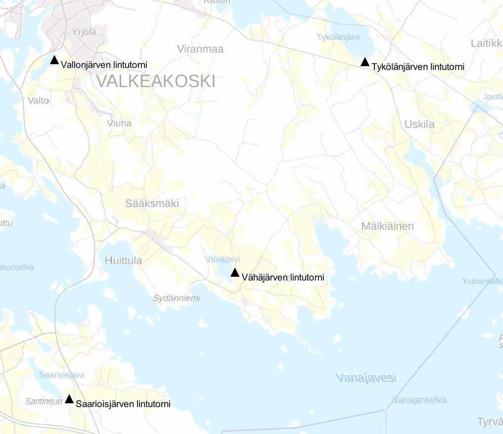 Valkeakosken lintutornien sijainnit kartalla.