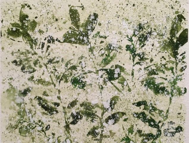 Maalaus vihreistä kasveista.