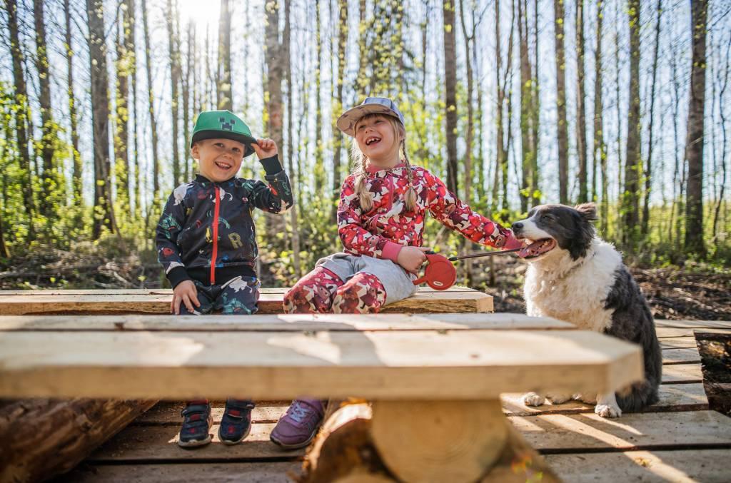Lapset ja koira istuvat Vallonjärven luontopolun taukopaikan penkillä.