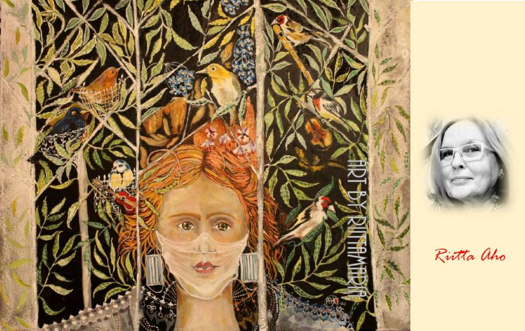 Riitta Aho ja hänen maalauksensa naisesta, joka katsoo värikkäästä lintuikkunasta ulos.