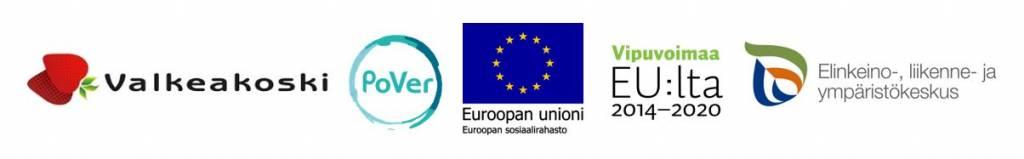 Valkeakosken, Pover-hankkeen, EUn ja ELY-keskuksen logot