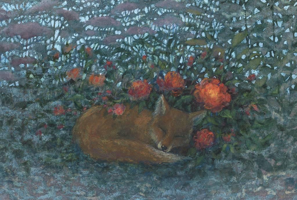 Kettu nukkuu luonnossa kukkien ympäröimänä.