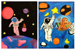 Piirros astronautista ja apinasta avaruudessa.
